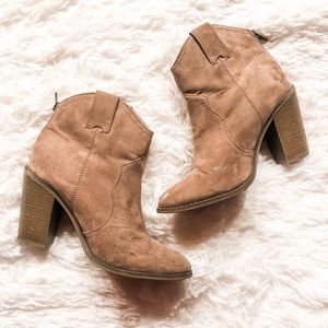 Faux Suede Western Style Booties